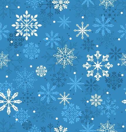 variation: Illustration Seamless Texture with Variation Snowflakes, Xmas Background - Vector