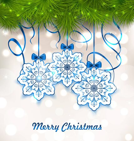 twigs: Illustration Christmas Paper Snowflakes with Fir Twigs - Vector
