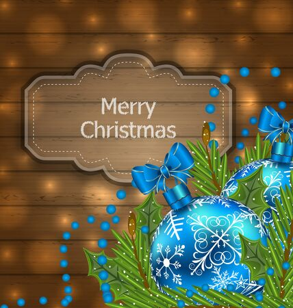 twigs: Illustration wooden label with Christmas balls and fir twigs - raster