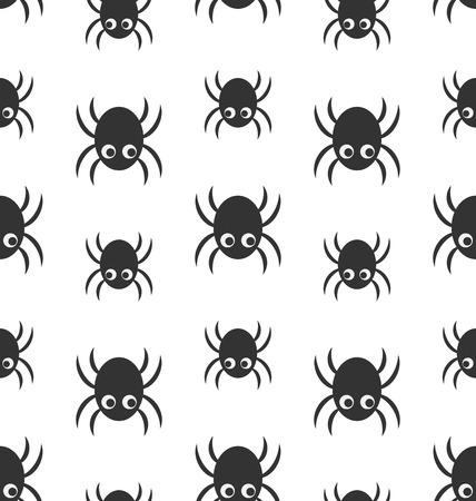 arachnophobia: Illustration Seamless Pattern with Simple Spiders, Halloween Wallpaper - raster