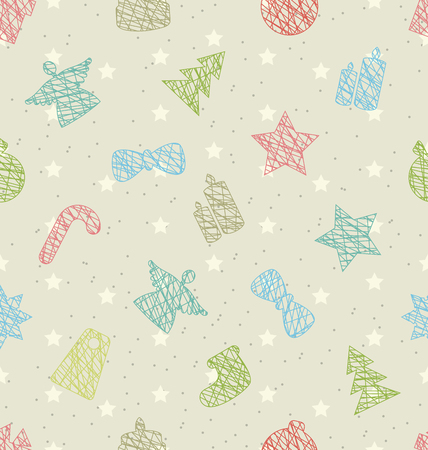 weihnachten: Illustration Seamless Texture with Holiday Object for Happy New Year - raster