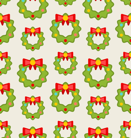christmas element: Illustration Seamless Pattern with Christmas Wreathes, Nature Texture - raster