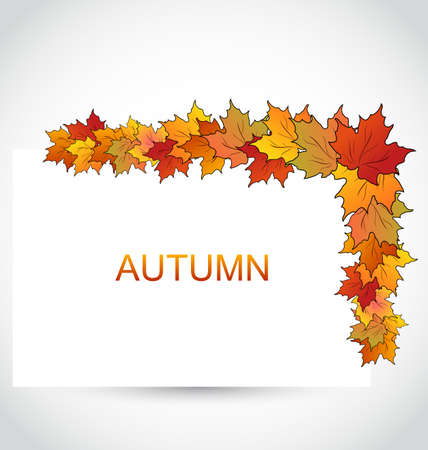 note paper: Illustration Colorful Autumn Maple Leaves with Note Paper - raster
