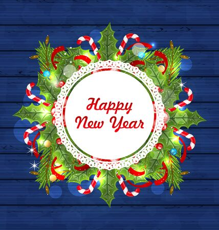 holly day: Illustration Greeting Card with Decoration for Happy New Year - raster Stock Photo