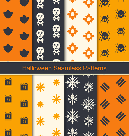 31th: Illustration Collection Seamless Textures for Happy Halloween, Abstract Patterns for Textile - raster