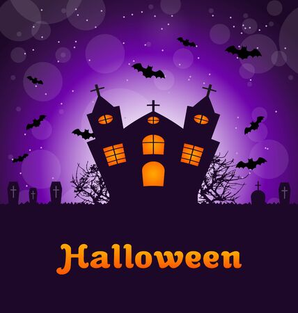 angry sky: Illustration Halloween Greeting Card with Castle, Bats, Cemetery. Advertising Flyer for Party - raster