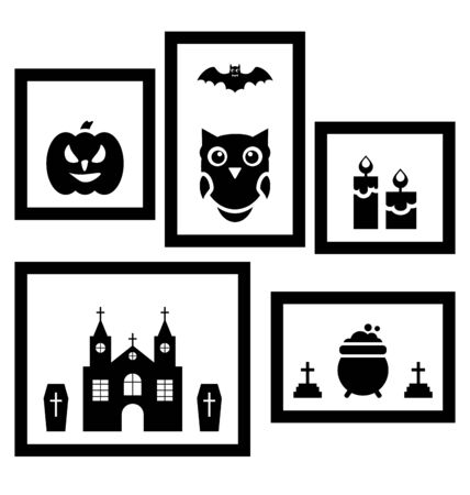 31th: Illustration Frames with Halloween Traditional Symbols, Isolated on White Background  - raster Stock Photo