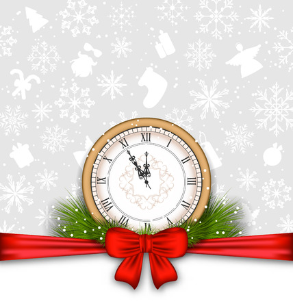 weihnachten: Illustration New Year Background with Clock, Fir Twigs and Bow Ribbon - raster