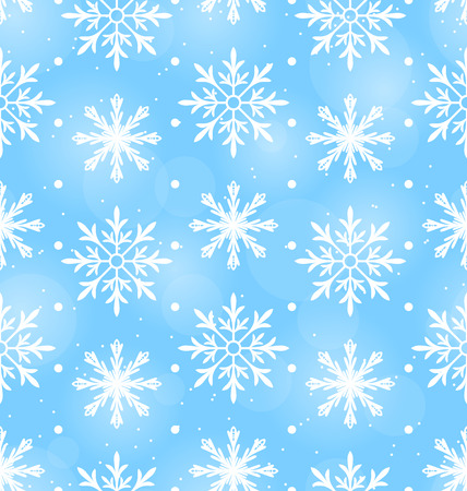Illustration Seamless Wallpaper with Different Snowflakes, December Background - raster