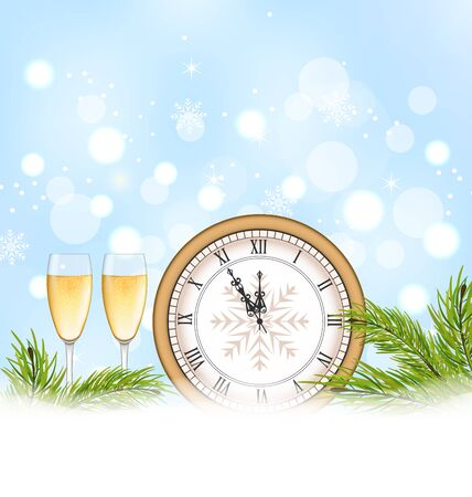 weihnachten: Illustration Happy New Year Background with Clock and Glasses of Champagne - raster