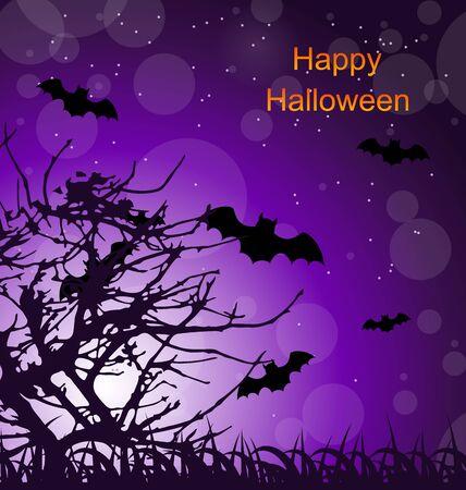 31: Illustration Halloween Night Background with Bats - raster