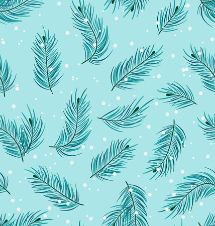 twigs: Illustration Seamless Pattern with Fir Twigs, Winter Texture - raster