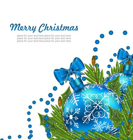 adornment: Illustration Greeting Postcard with Christmas Balls and Adornment - raster Stock Photo