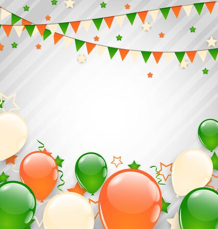 tricolor: Illustration Buntings Flags Garlands and Balloons in Traditional Tricolor of Flag for Independence Day - raster