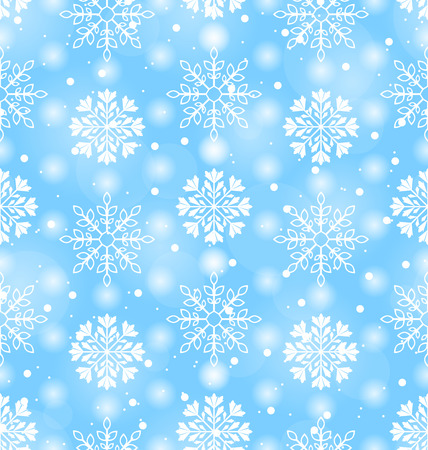 Illustration Seamless Texture with Variation Snowflakes, Holiday wallpaper - raster