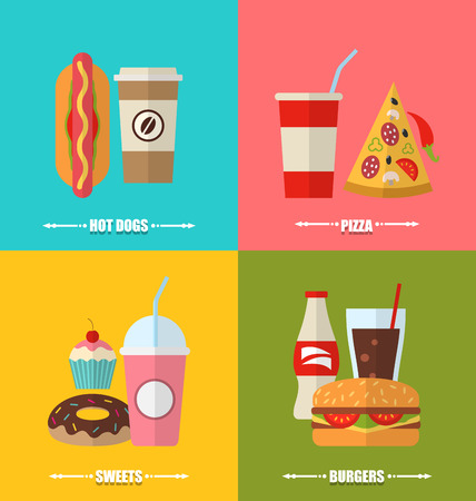 aerated: Illustration set fast food and drink, flat colorful simple icons - raster Stock Photo
