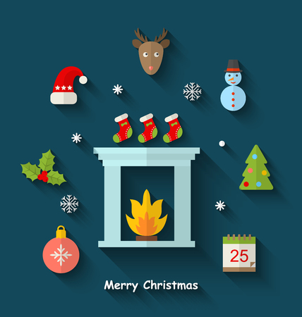 cartoon fireplace: Illustration Christmas Minimal Objects and Elements with Long Shadows - raster