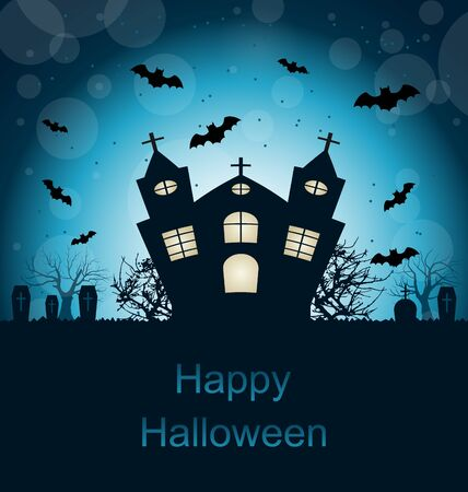angry sky: Illustration Halloween Abstract Greeting Card with Castle, Bats, Cemetery - raster