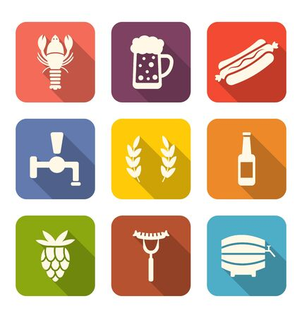 beer bottle: Illustration Set Colorful Icons of Beers and Snacks, Long Shadows Style - raster