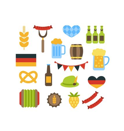 lederhosen: Illustration Oktoberfest Symbols Isolated on White Background - raster Stock Photo
