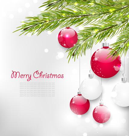 lighten: Illustration Christmas Lighten Card with Fir Branches and Glass Balls - raster Stock Photo