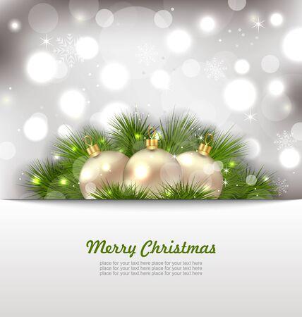 weihnachten: Illustration Merry Christmas Card with Fir Twigs and Golden Balls - raster