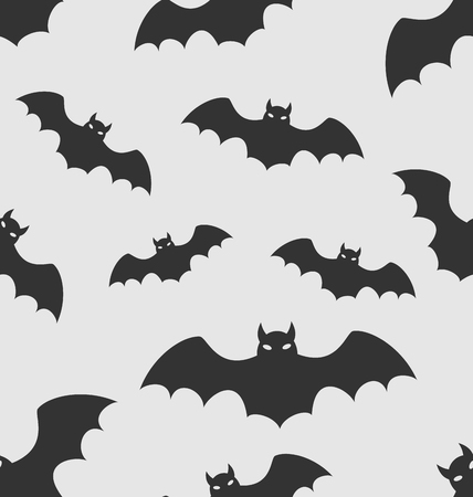 31th: Illustration Seamless Pattern with Black Silhouettes of Bats, Halloween Wallpaper - raster