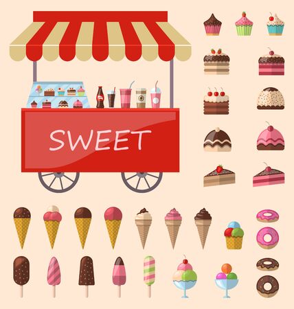 ice cream cart: Delicious sweets and ice cream cart market icons set - raster