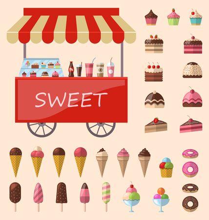 ice cream cart: Dolci squisiti e icone gelato carrello mercato set - raster