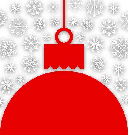 paper ball: Illustration Snowflake Background with Christmas Paper Ball - raster