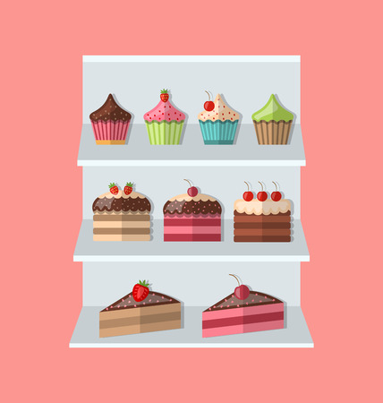 ice cream stand: Delicious sweets and ice cream stand market icons set - raster