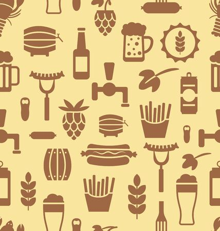 beers: Illustration Seamless Pattern with Icons of Beers and Snacks, Old Food Wallpaper - raster