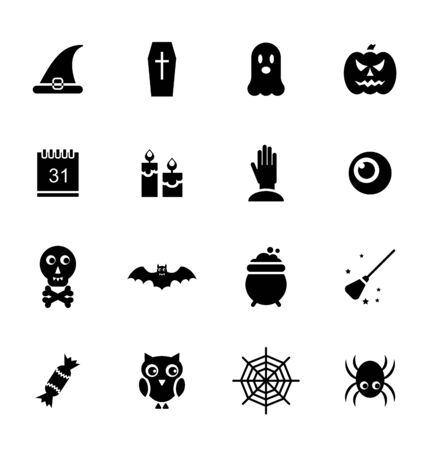 besom: Illustration Halloween Traditional Icons, Black Silhouettes Isolated on White Background - raster