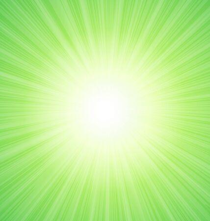 sunbeams: Abstract Green Sunshine Sunbeam Background - raster Stock Photo