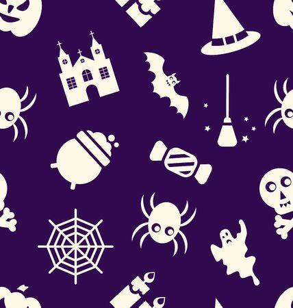 besom: Illustration Halloween Seamless Pattern with Traditional Elements - raster Stock Photo