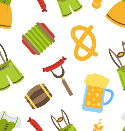 wiesn: Illustration Seamless Pattern with Oktoberfest Symbols - raster