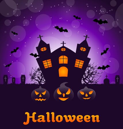 31th: Illustration Halloween Nature Background with Castle, Pumpkins, Bats, Cemetery, Advertising Flyer - raster Stock Photo