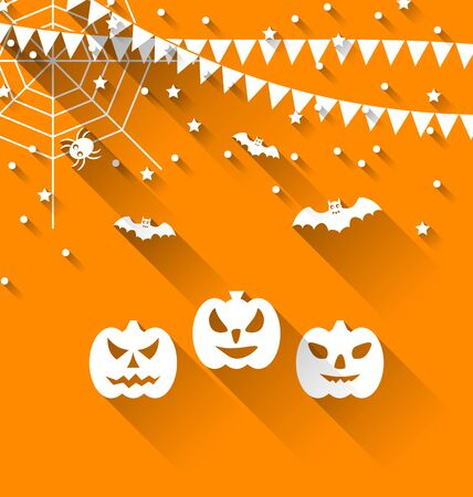 31th: Illustration Halloween Paper Background with Pumpkins Bats, Spyder, Web and Bunting Pennants, Trendy Flat Style - raster