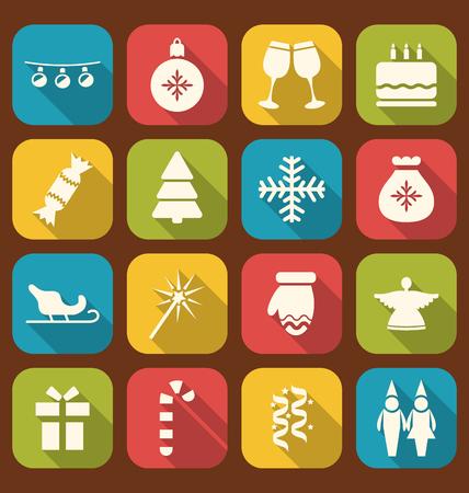 papa noel en trineo: Ilustraci�n fiesta de Navidad simple de los iconos, estilo largo sombras - raster