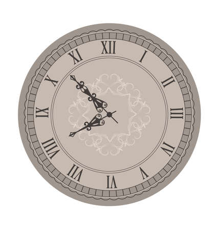 old clock: Illustration Old Clock with Vignette Arrows, Isolated on White Background - raster