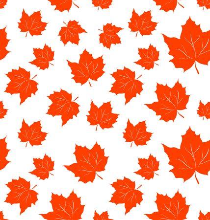 autumnal: Illustration Autumnal Maple Leaves, Seamless Background - raster Stock Photo