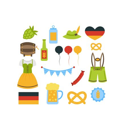wiesn: Illustration Oktoberfest Colorful Elements Isolated on White Background - raster Stock Photo