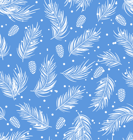 winter wallpaper: Illustration Seamless Pattern with Fir Branches and Cones, Winter Wallpaper - raster Stock Photo