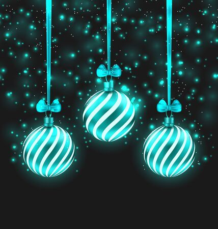 shimmering: Illustration Christmas Dark Shimmering Background with Turquoise Glassy Balls - raster