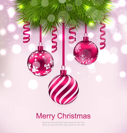 twigs: Illustration Christmas Invitation with Fir Twigs and Glass Balls - raster Stock Photo