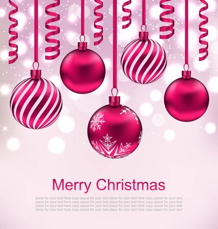 streamer: Illustration Christmas Beautiful Background with Balls and Streamer - raster Stock Photo