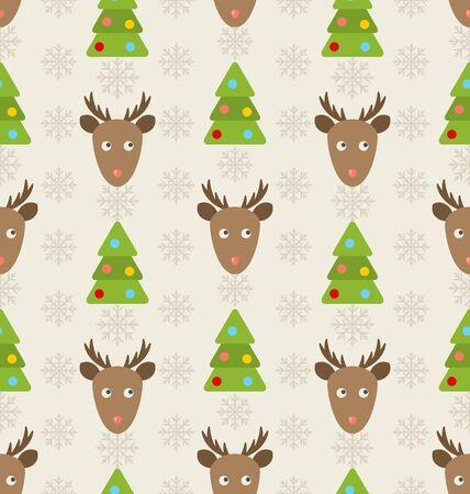 venado: Ilustraci�n incons�til de la Navidad Modelo con los ciervos Abetos y copos de nieve, Holiday Wallpaper - raster