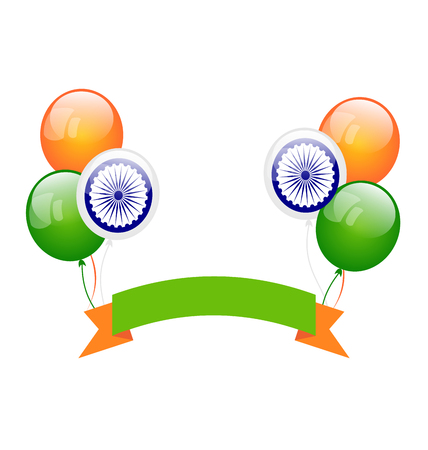 tricolor: Illustration Colorfool Balloons in Traditional Tricolor of Indian Flag for Independence Day - raster Stock Photo