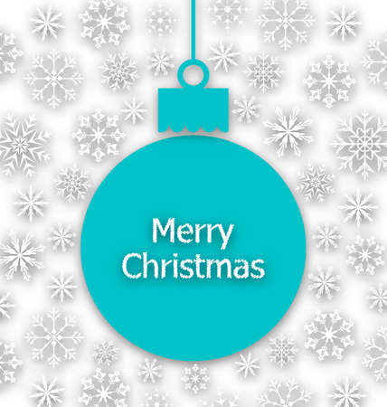 paper ball: Illustration Christmas Paper Ball, Unusual Greeting Card - raster