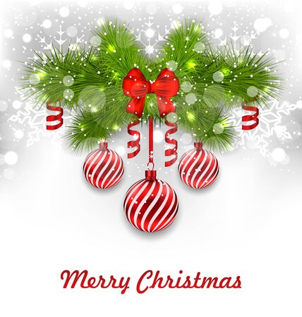 streamer: Illustration Christmas Glowing Greeting Background with Fir Branches, Glass Balls, Ribbon Bows, Streamer - raster Stock Photo